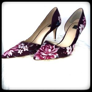 WHBM Floral Heels Purple Floral Fabric 8